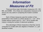 information measures of fit