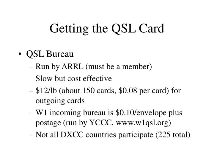 Getting the QSL Card