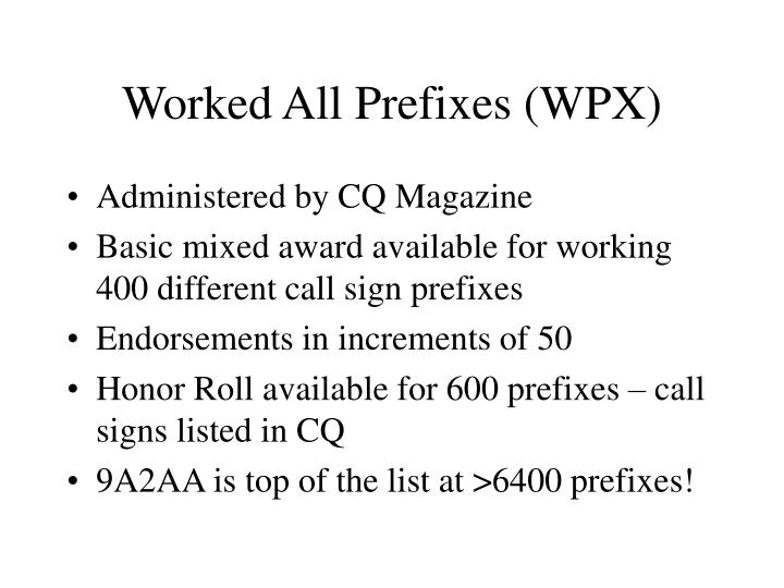 Worked All Prefixes (WPX)