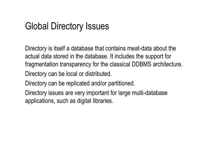 Global Directory Issues