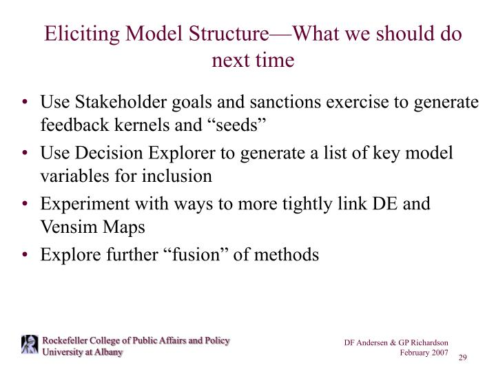 Eliciting Model Structure—What we should do next time