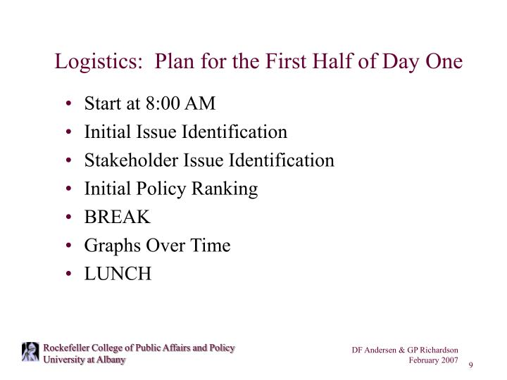 Logistics:  Plan for the First Half of Day One