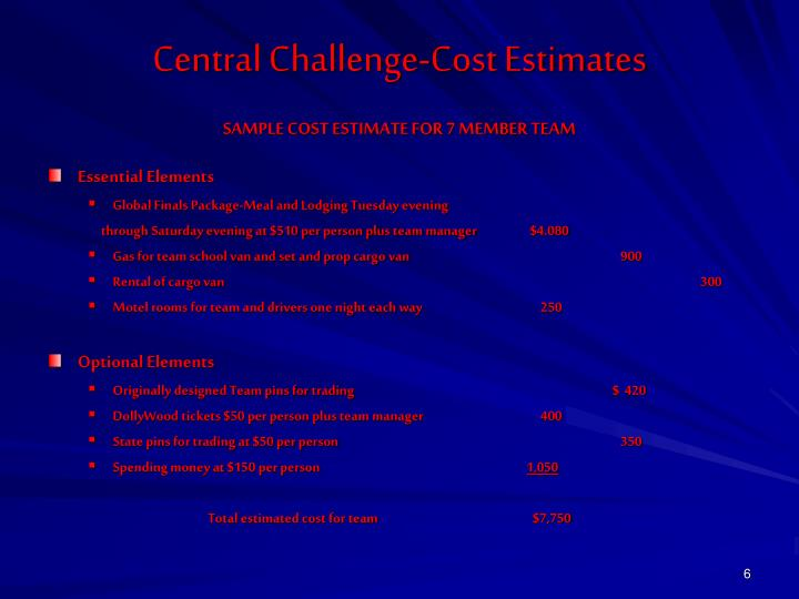 Central Challenge-Cost Estimates