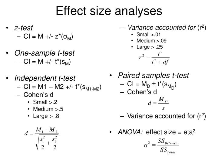 Effect size analyses