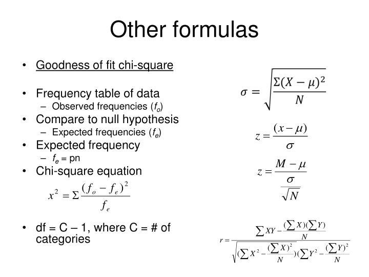 Other formulas