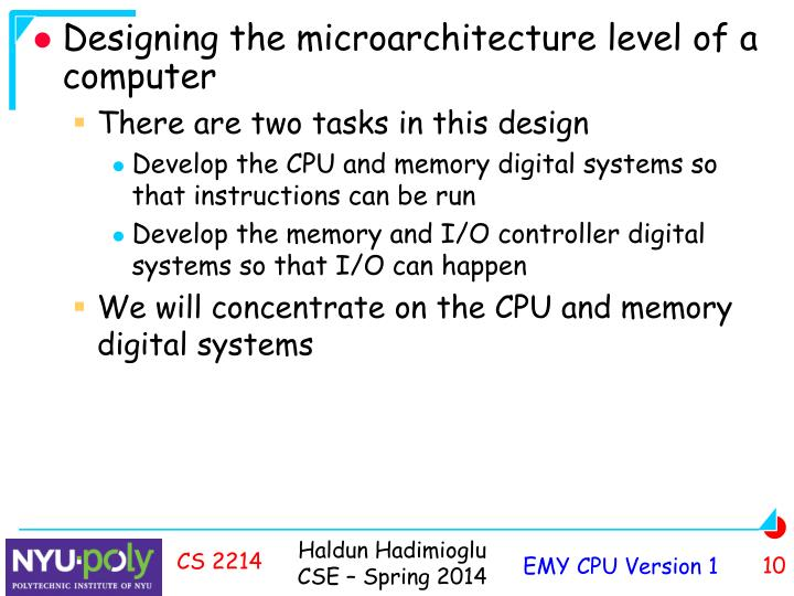 Designing the microarchitecture level of a computer