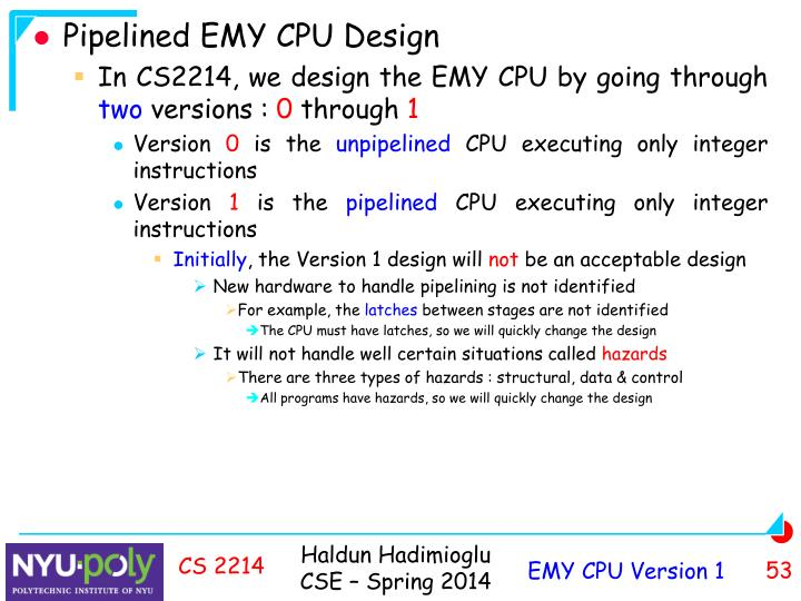 Pipelined EMY CPU Design