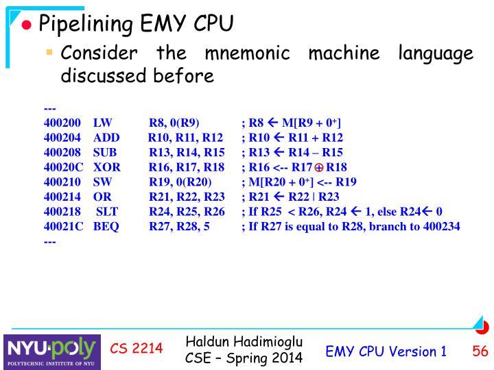 Pipelining EMY CPU