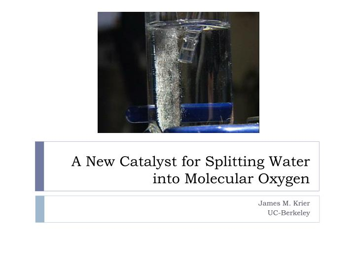 A New Catalyst for Splitting Water into Molecular Oxygen