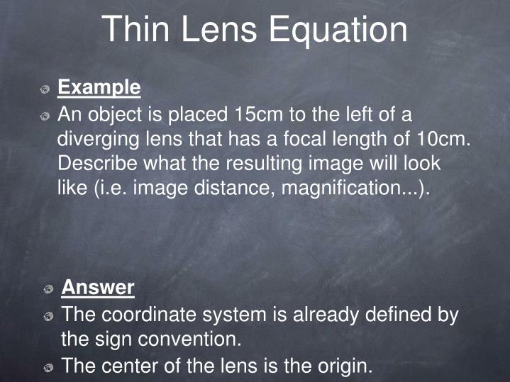 Thin Lens Equation