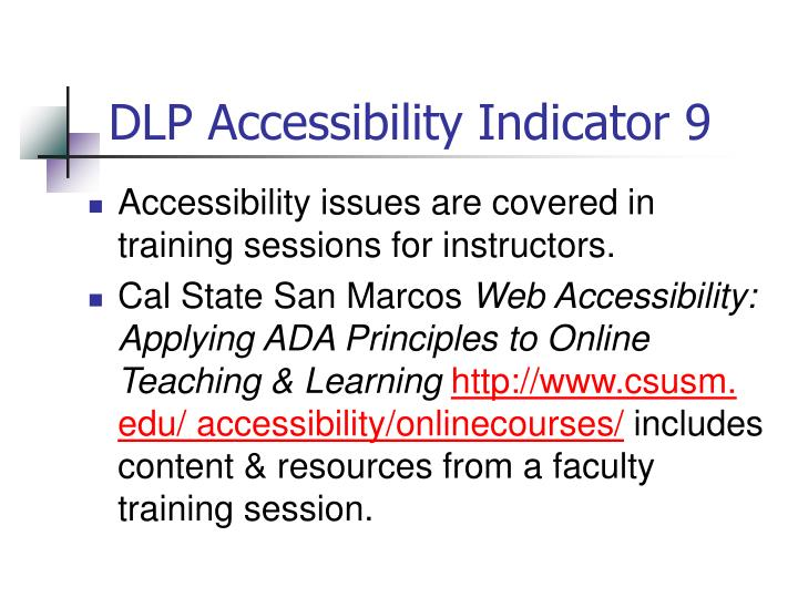 DLP Accessibility Indicator 9