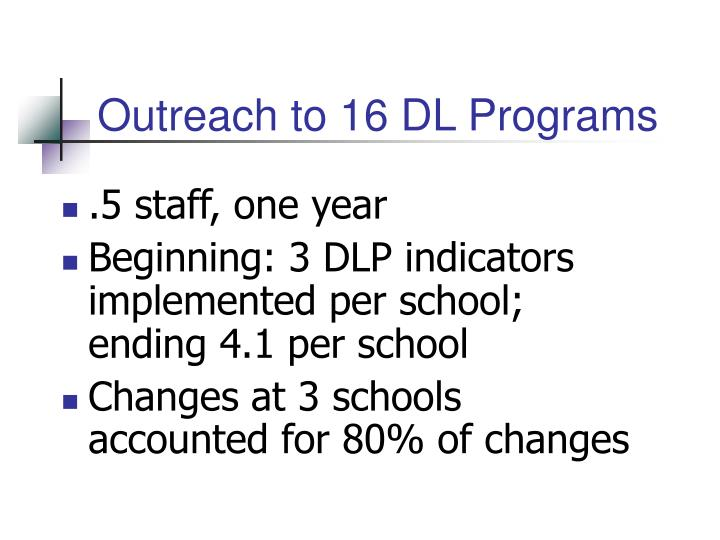 Outreach to 16 DL Programs