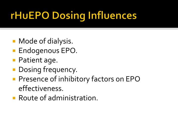 rHuEPO Dosing Influences