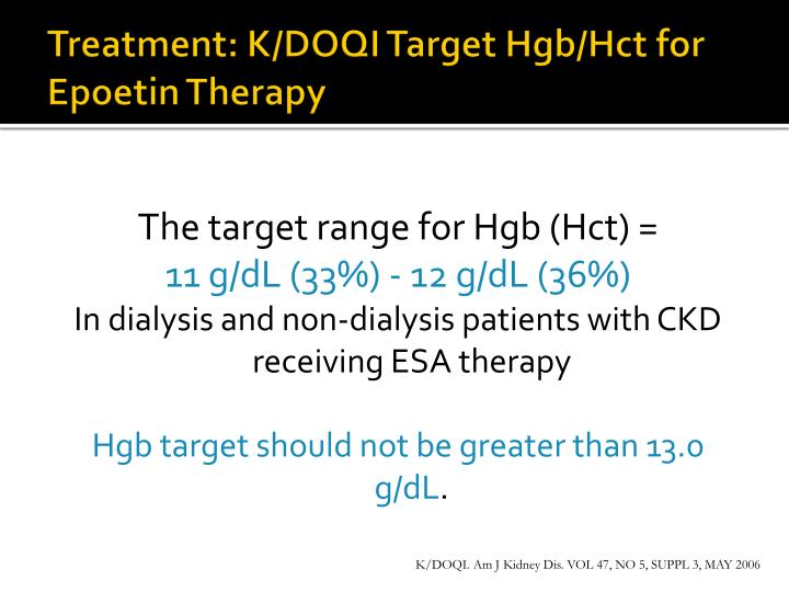 Treatment: K/DOQI Target Hgb/Hct for Epoetin Therapy