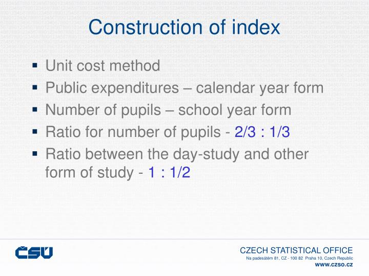 Construction of index