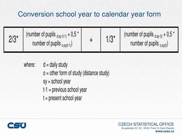 Conversion school year to calendar year form