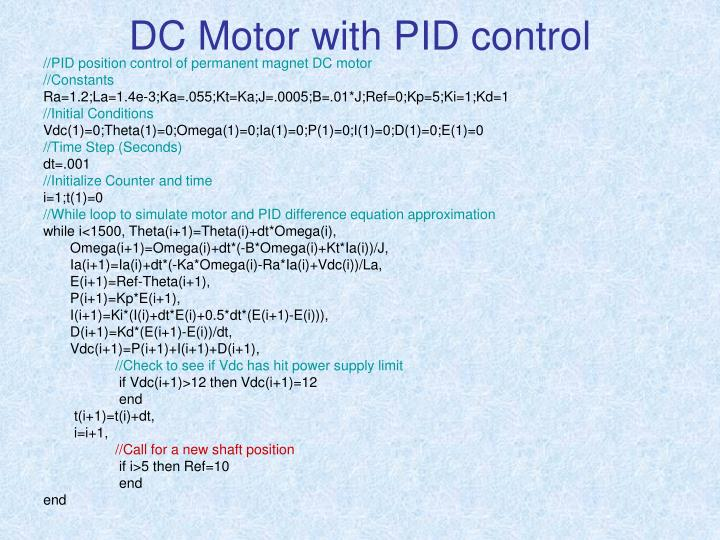 DC Motor with PID control