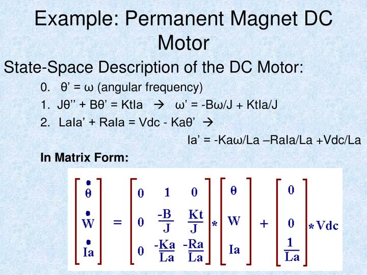 Example: Permanent Magnet DC Motor