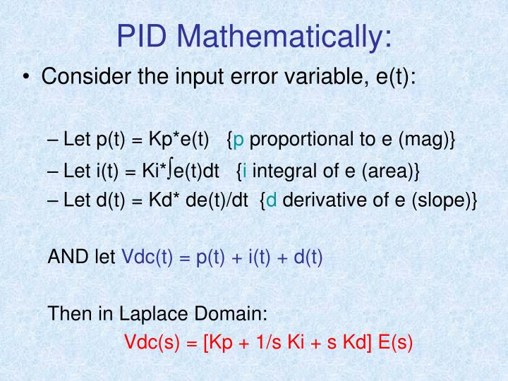 PID Mathematically: