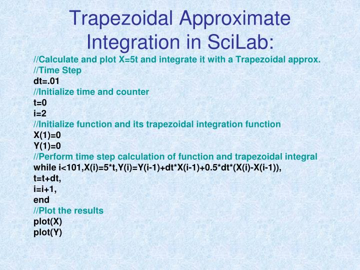 Trapezoidal Approximate Integration in SciLab: