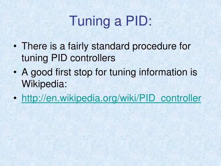 Tuning a PID: