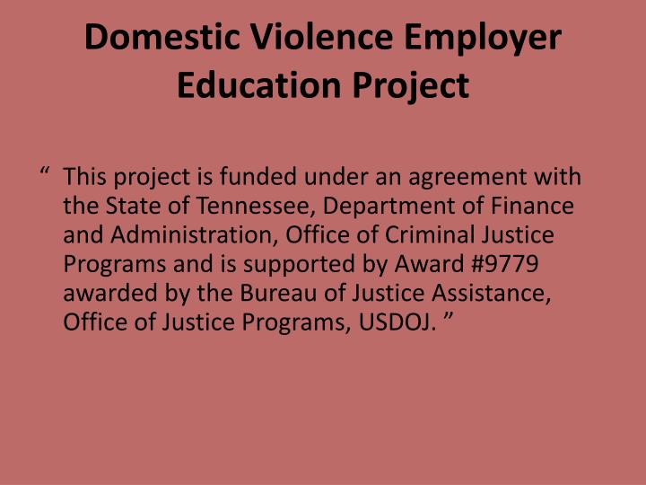 Domestic Violence Employer Education Project
