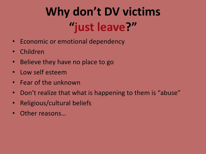 Why don't DV victims