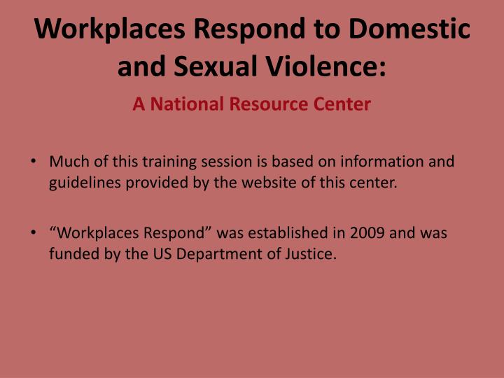 Workplaces Respond to Domestic and Sexual Violence: