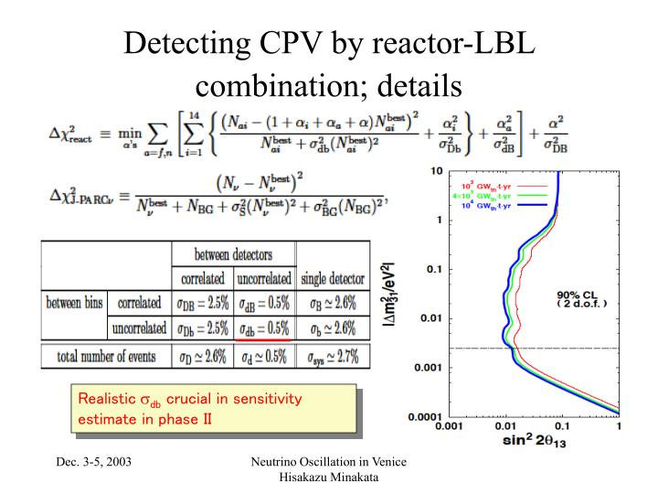 Detecting CPV by reactor-LBL combination; details