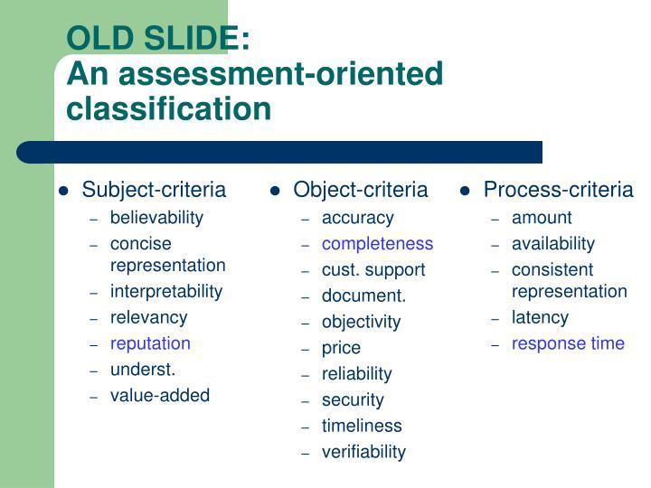 Subject-criteria