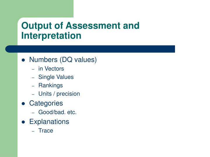 Output of Assessment and Interpretation