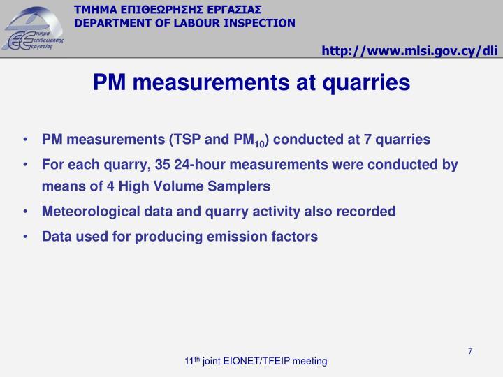 PM measurements at quarries