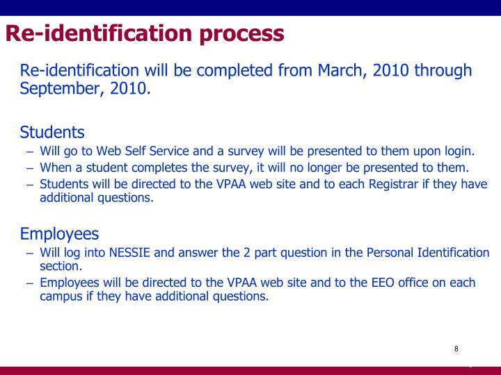 Re-identification process