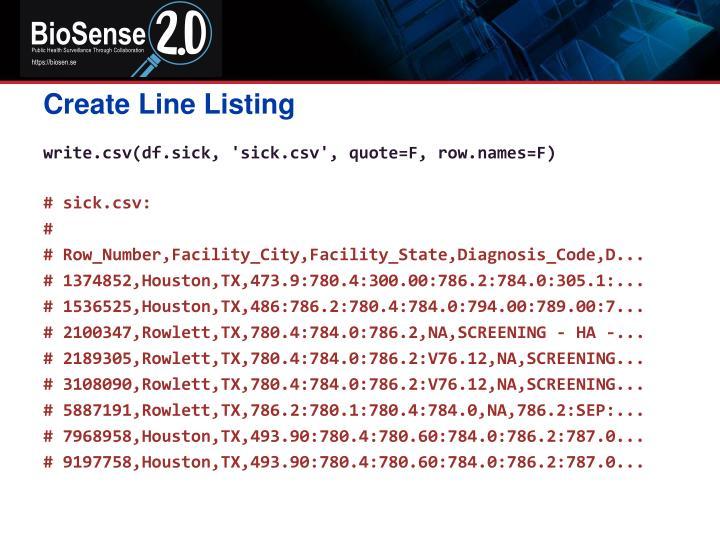 Create Line Listing