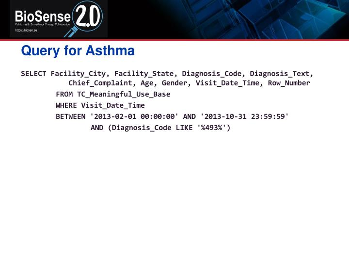 Query for Asthma