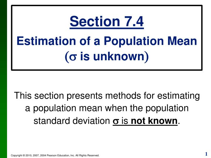 estimating a population mean