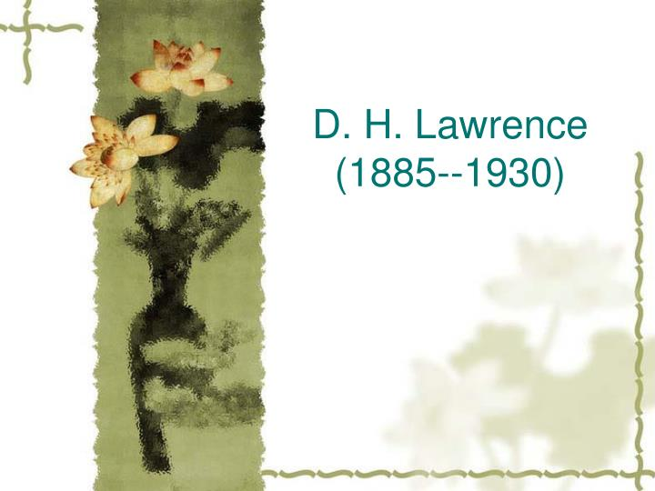 D h lawrence 1885 1930