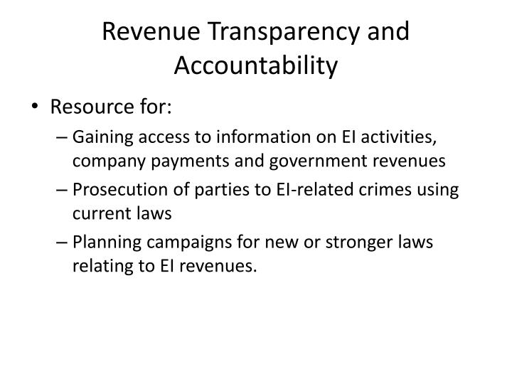 Revenue transparency and accountability