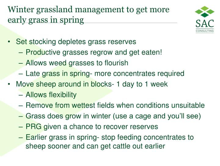 Winter grassland management to get more early grass in spring