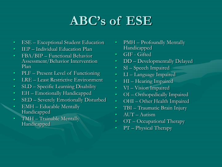 ESE – Exceptional Student Education