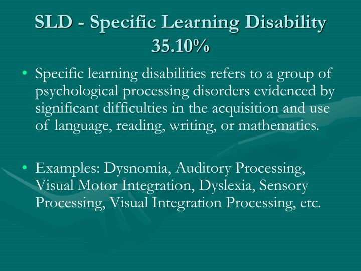 SLD - Specific Learning Disability