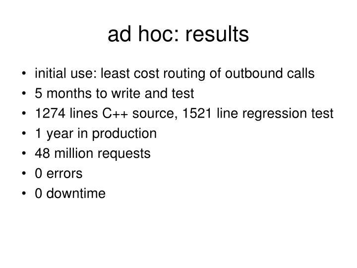 ad hoc: results