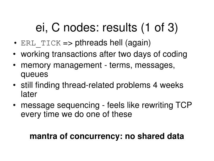ei, C nodes: results (1 of 3)