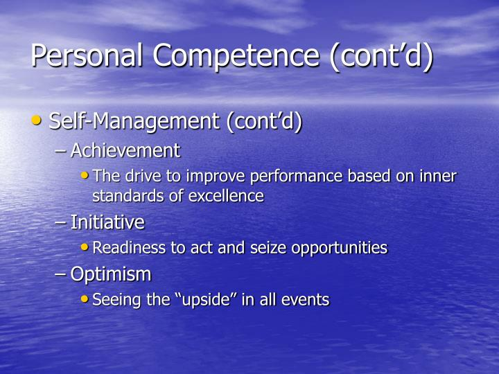 Personal Competence (cont'd)