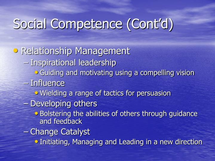 Social Competence (Cont'd)