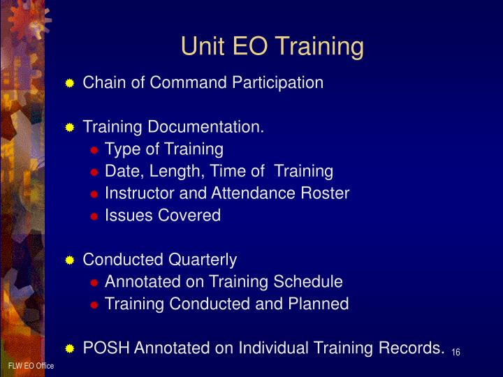 "army eo program Program: command support and kit"" for the commander in implementing army eo policy unit equal opportunity training guide department of the army pamphlet."