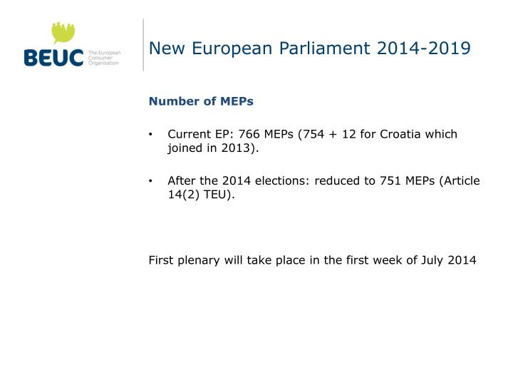 New European Parliament 2014-2019