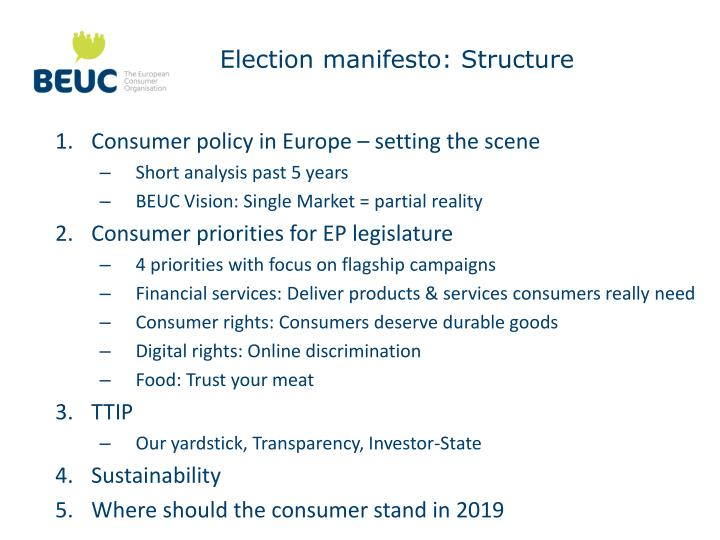 Election manifesto: Structure