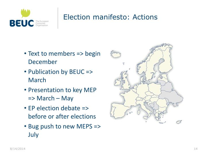 Election manifesto: Actions