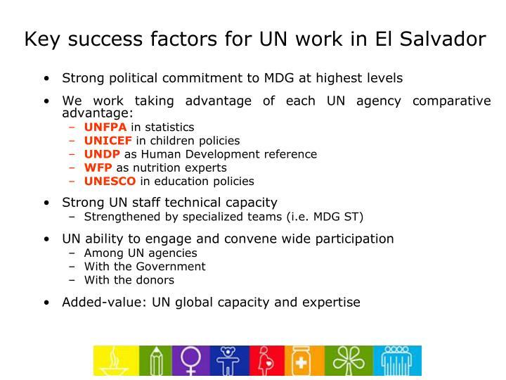 Key success factors for UN work in El Salvador